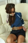 Hot girls bound tightly with rope and gagged with silk scarves