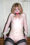 Cute amateur slave Violet bound, gagged and tit tortured