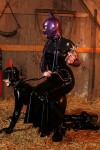 Latex ponygirl Pupett penetrated in her ass