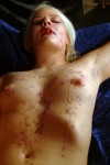 Naked blonde MILF tied and wax tortured
